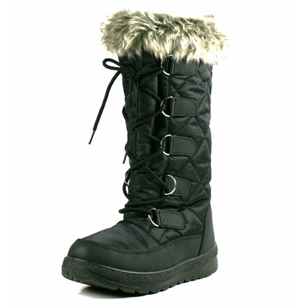 OwnShoe Poala Womens Lace Up Mid Calf Winter Snow Flat Boots