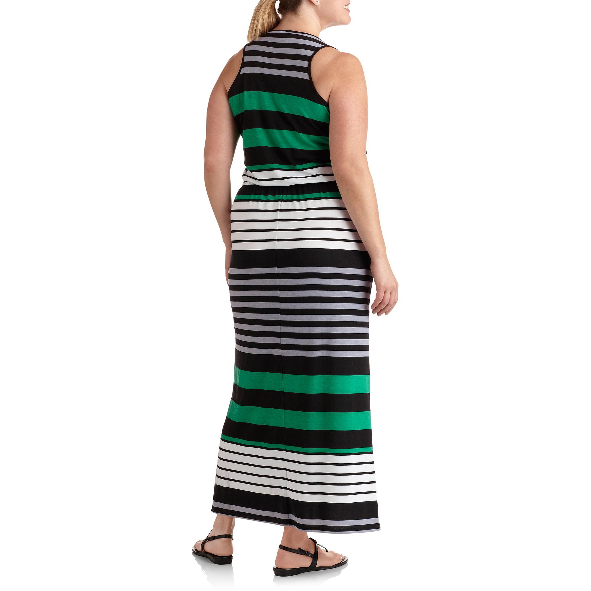 Women's Plus-Size Henley Striped Maxi Dress