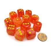 Chessex Ghostly Glow 16mm D6 Dice Block (12 Dice) - Orange with Yellow Numbers #27723