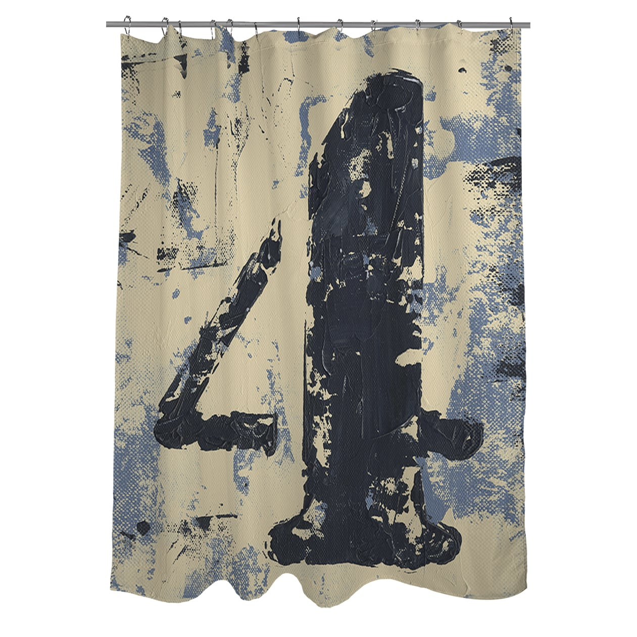 "Thumbprintz Vintage Numbers 4 Shower Curtain, 71"" x 74"""