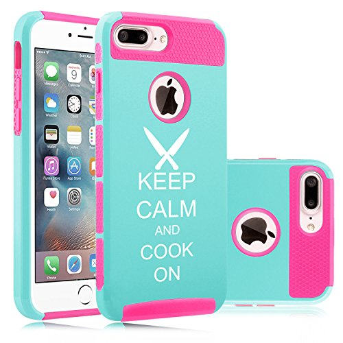 For Apple iPhone (7 Plus) Shockproof Impact Hard Soft Case Cover Keep Calm And Cook Chef Knives (Light Blue-Hot Pink)