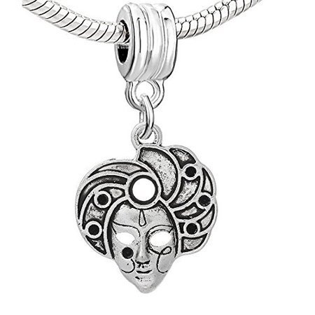Sterling Silver Mardis Gras Charm (Mardi Gras Women Dangle Charm European Bead Compatible for Most European Snake Chain)