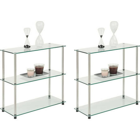Convenience Concepts Designs2Go 3-Shelf Glass Bookcase, Set of 2, (Mix and Match)
