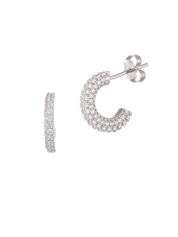Sterling Silver and Cubic Zirconia Huggie Hoop Earrings