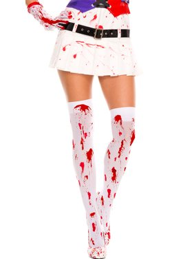 63fc6351285 Product Image Music Legs Bloody Thigh Highs White Red One Size Fits Most