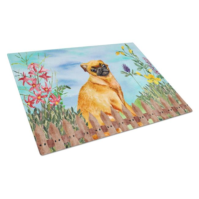 Carolines Treasures CK1229LCB Small Brabant Griffon Spring Glass Cutting Board, Large - image 1 de 1