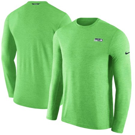 Seattle Seahawks Nike Sideline Coaches Primary Logo Long Sleeve Performance T-Shirt - Neon Green