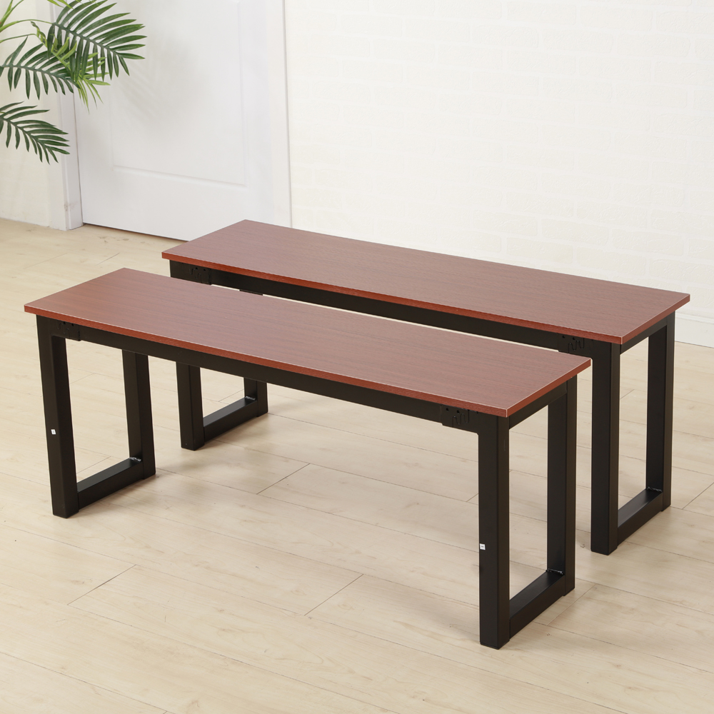Ktaxon 2pcs Modern Dining Benches with Iron Frame,Brown