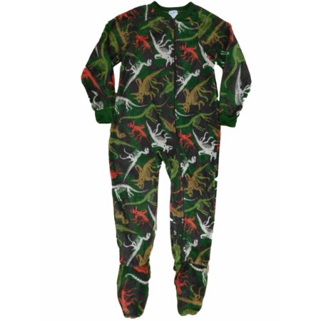 Boys Camouflage Dinosar Skeleton Fleece Blanket Sleeper Footed Pajamas - Skeleton Pyjamas Boys