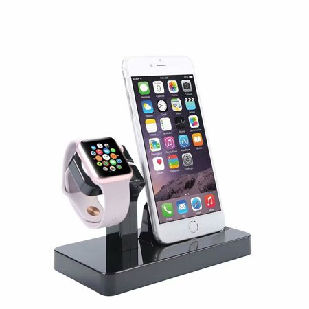 Ipod Speakers Docking Station - 2 in 1 Stand Holder & Charging Dock Station, Charger Stand Dock Compatible with Apple Watch Series 3 2 1, iWatch, iPhone, iPod -black