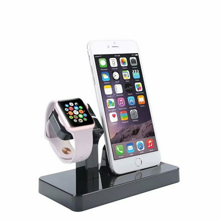 2 in 1 Stand Holder & Charging Docking Station, Charger Stand Dock Compatible with Apple Watch Series 3 2 1, iWatch, iPhone, iPod -Black ()
