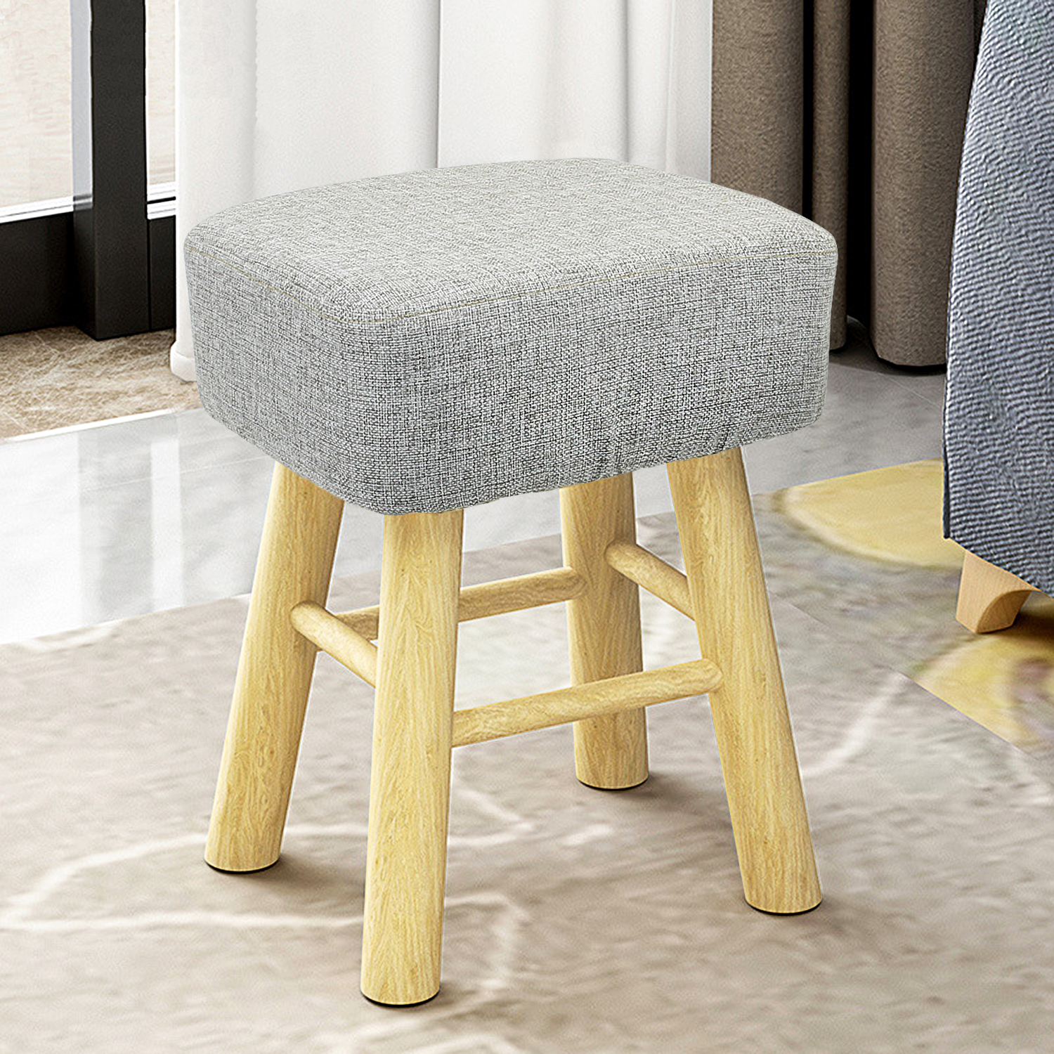 Square Ottoman Footstool Fabric Ottomans Bench Seat Foot Rest Step