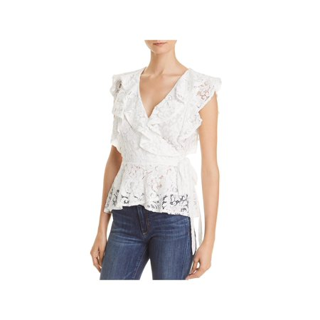 Lucy Paris Womens Lace Ruffled Wrap Top White M