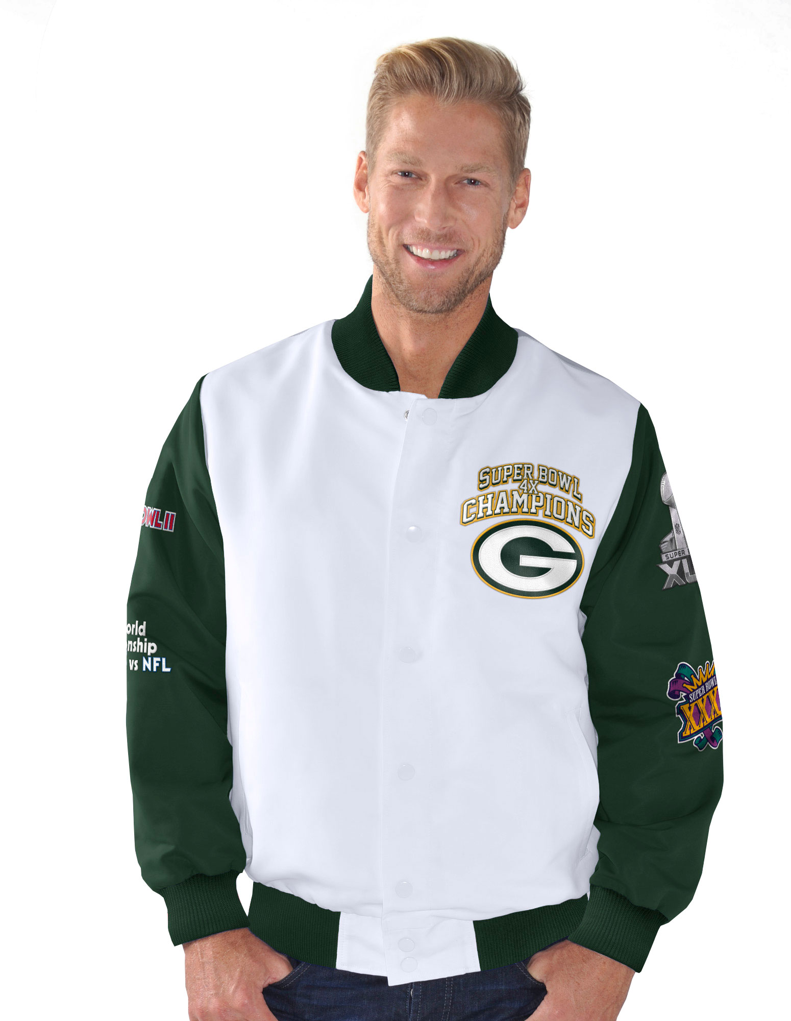 "Green Bay Packers NFL ""Trophy"" Super Bowl Commemorative Sublimated Jacket by G-III Sports"