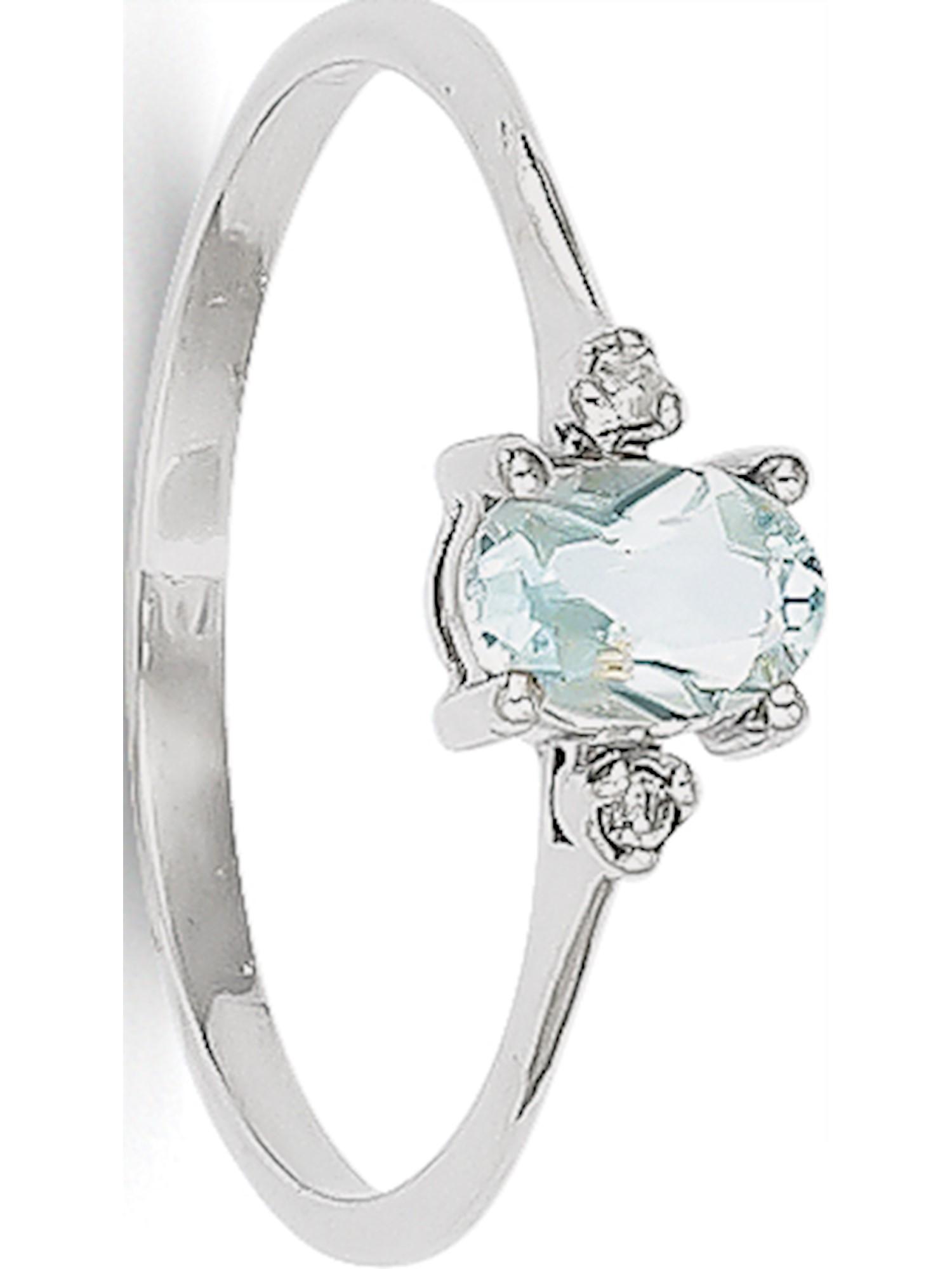 14k White Gold White Diamond & Aquamarine Birthstone Ring by