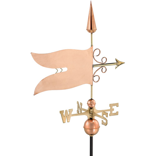 Good Directions Banner Weathervane, Polished Copper