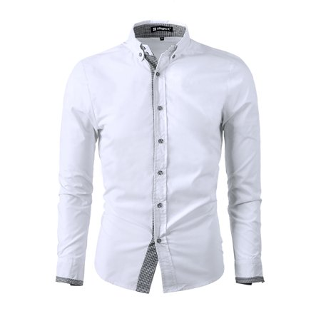 Unique Bargains Mens Point Collar Button Down Long Sleeve Plaids Detail Shirt Banded Collar Long Sleeve Work Shirt