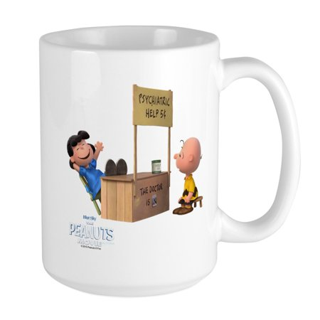 CafePress - Charlie Brown And Lucy Peanuts Movie Large Mug - 15 oz Ceramic Large Mug Charlie Brown Linus Lucy