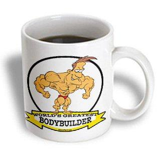 3dRose Funny Worlds Greatest Bodybuilder Men Cartoon, Ceramic Mug, 11-ounce](Funny Bodybuilder)