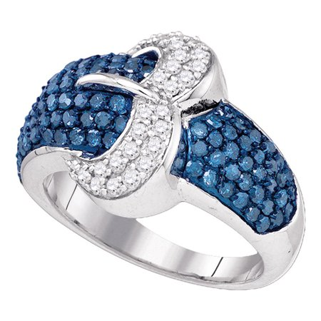 Blue Diamond Buckle Ring 10k White Gold Belt Cocktail Band Dome Style Round Cluster Set Fancy 1-3/8 ctw