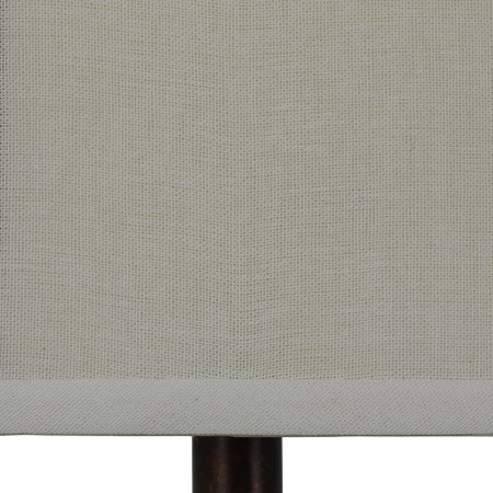 Decor Therapy Antique Rust Iron Look Table Lamp with Natural Linen Shade -Dark Brown