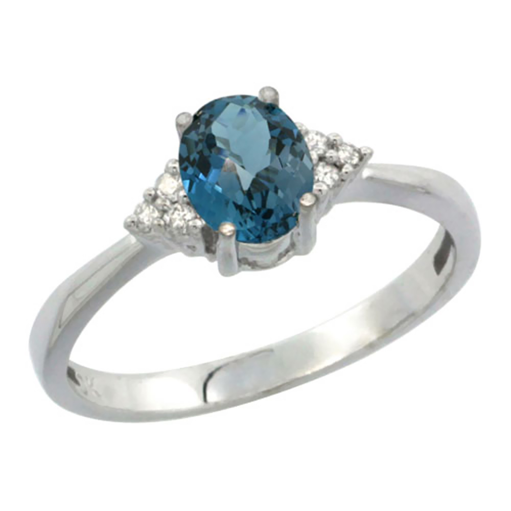 10K White Gold Diamond Natural London Blue Topaz Engagement Ring Oval 7x5mm, sizes 5-10 by WorldJewels
