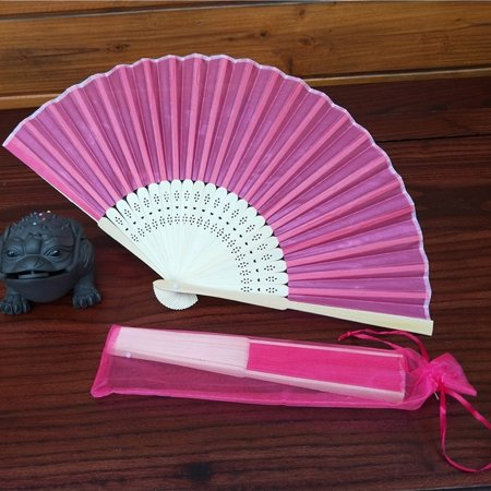BEAD BEE Chinese Style Hand Held Fan Bamboo Silk Folding Fan Party Wedding - Silk Wedding Hand Fan