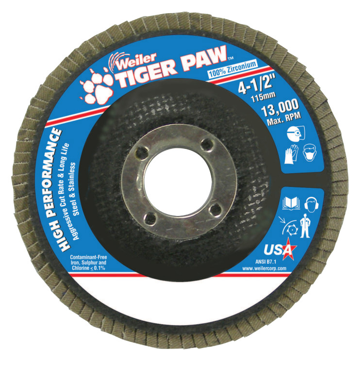"Tiger Paw Coated Abrasive Flap Discs,4 1/2"",40 Grit,7/8 Arbor,Phenolic,13000 rpm"