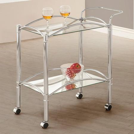 Chrome Mail Cart - Coaster Serving Bar Cart, Chrome