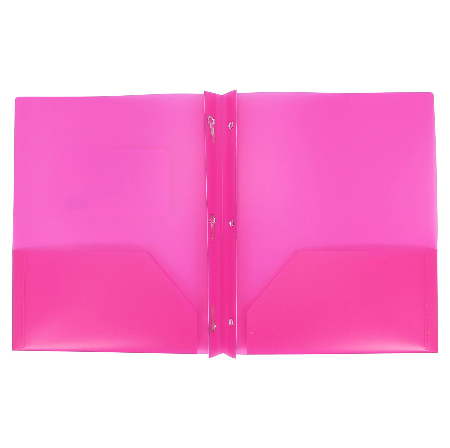 Two Pocket Poly File Folder With 3 Prongs Fastners, SET Of