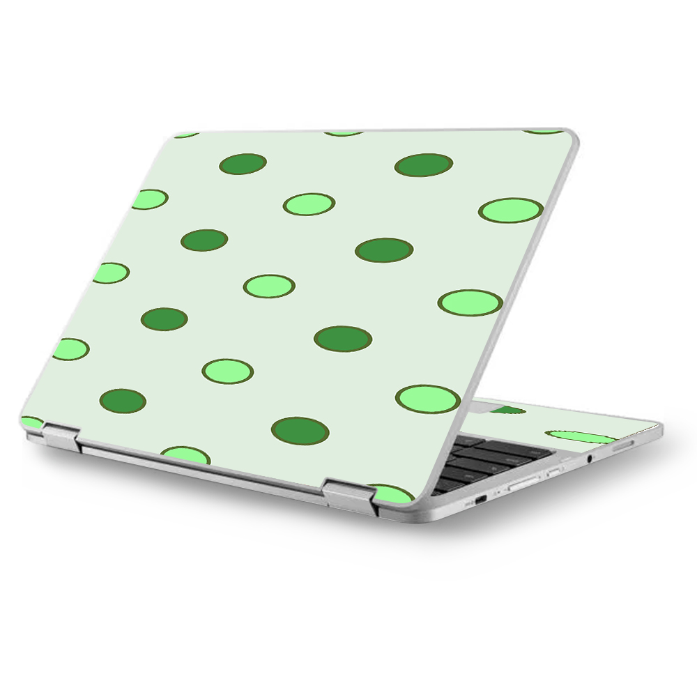 "Skins Decals for Asus Chromebook 12.5"" Flip C302CA Laptop Vinyl Wrap / Green Polka Dots"