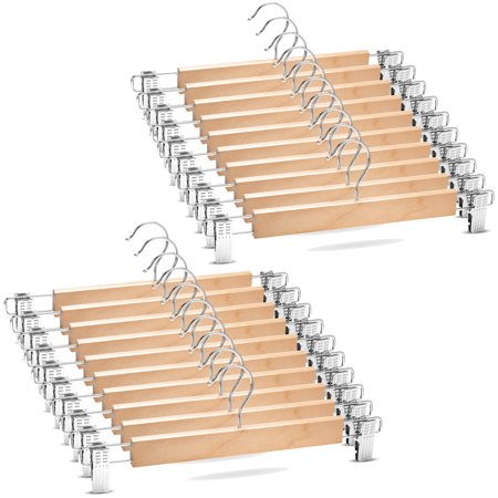 ShopoKus High-Grade Wooden Pants Hangers with Clips 20 Pack Non Slip Skirt Hangers, Smooth Finish Solid Wood Jeans Hanger with 360° Swivel Hook - Pants Clip Hangers for Skirts, Slacks