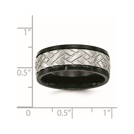 JbSP- Stainless Steel Brushed Black IP Grooved Ring - image 5 of 6