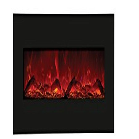 """58"""" Electric Fireplace with 64"""" x 21"""" Black Glass Surround"""