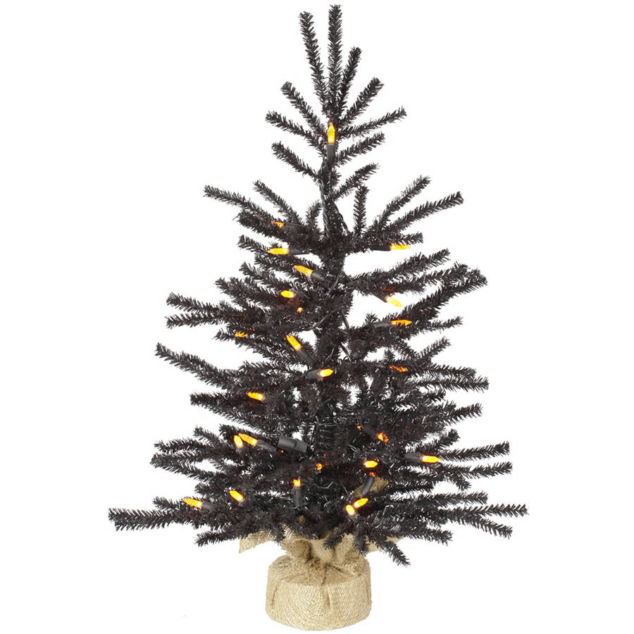 "Vickerman 24"" Black Pistol Artificial Christmas Tree with 35 Orange LED Lights"