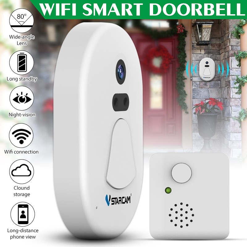 Smart Wireless Doorbell Wifi Door Bell Camera Kit with Clear Night Vision and Anti-theft Alarm Function Home Security