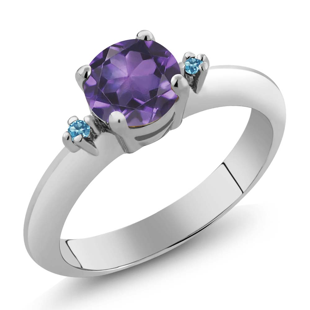 0.77 Ct  Purple Amethyst and Swiss Blue Simulated Topaz 14K White Gold 3-Stone Ring
