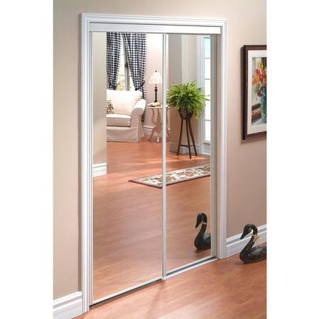 Pinecroft Euroframe Mirror Sliding Door with White Frame ()