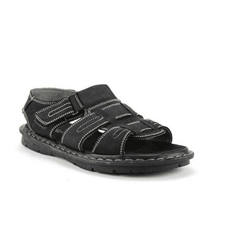 b9a229f4afdd1 Bonafini S-501 Mens Black Genuine Leather Open Toe Fisherman Sandals