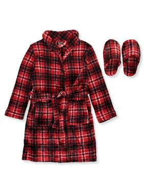 Mac Henry Boys' Plush Plaid Robe & Slippers Set