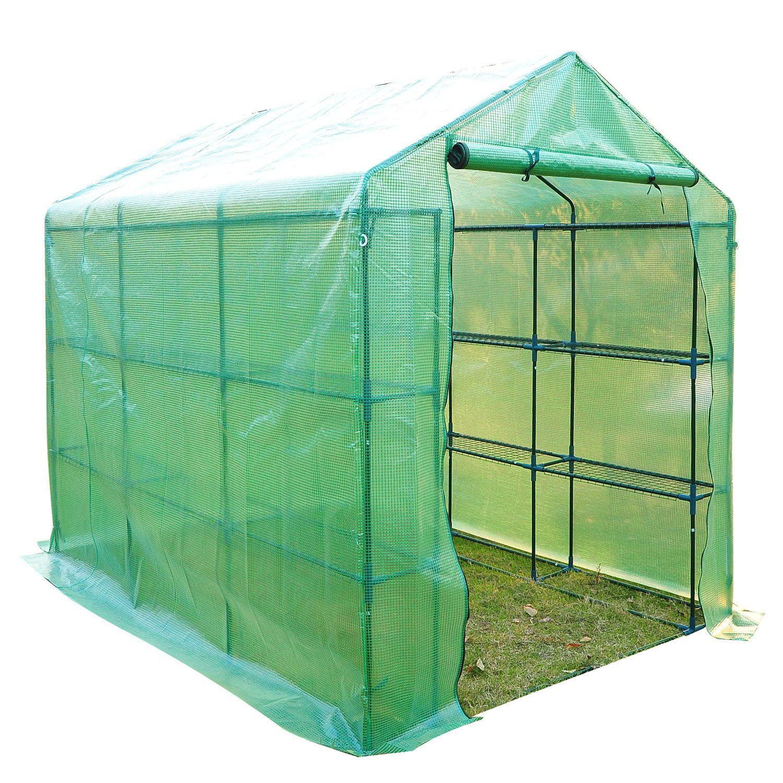7.5-Feet Outsunny Portable 3-Tier Shelf Hexagonal Walk In Greenhouse