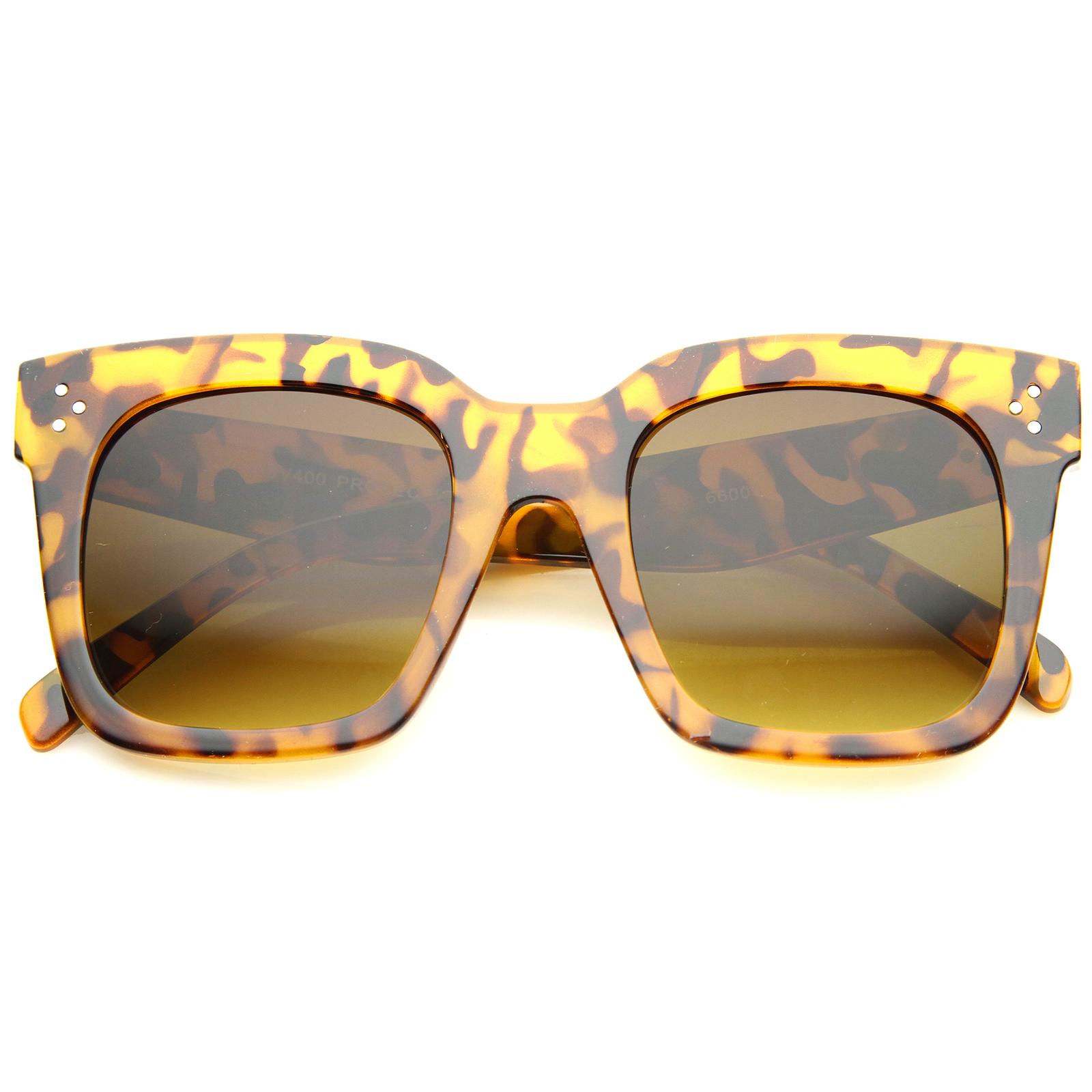 sunglassLA - Bold Oversize Tinted Flat Lens Square Horn Rimmed Sunglasses - 51mm
