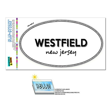Westfield, NJ - New Jersey - Black and White - City State - Oval Laminated