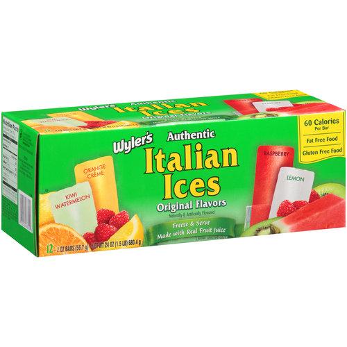 Wyler's Authentic Original Flavors Italian Ices, 2 oz, 12 ct