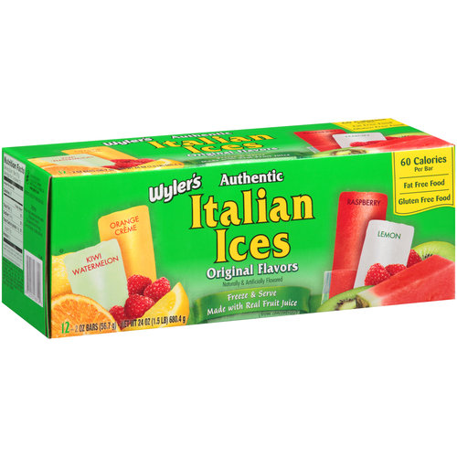 Wyler's Authentic Original Flavors Italian Ices, 2 oz, 12 count