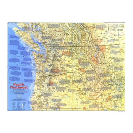 1986 Pacific Northwest Map Side 1 Print Wall Art By National Geographic (Best Fruit Trees For Pacific Northwest)