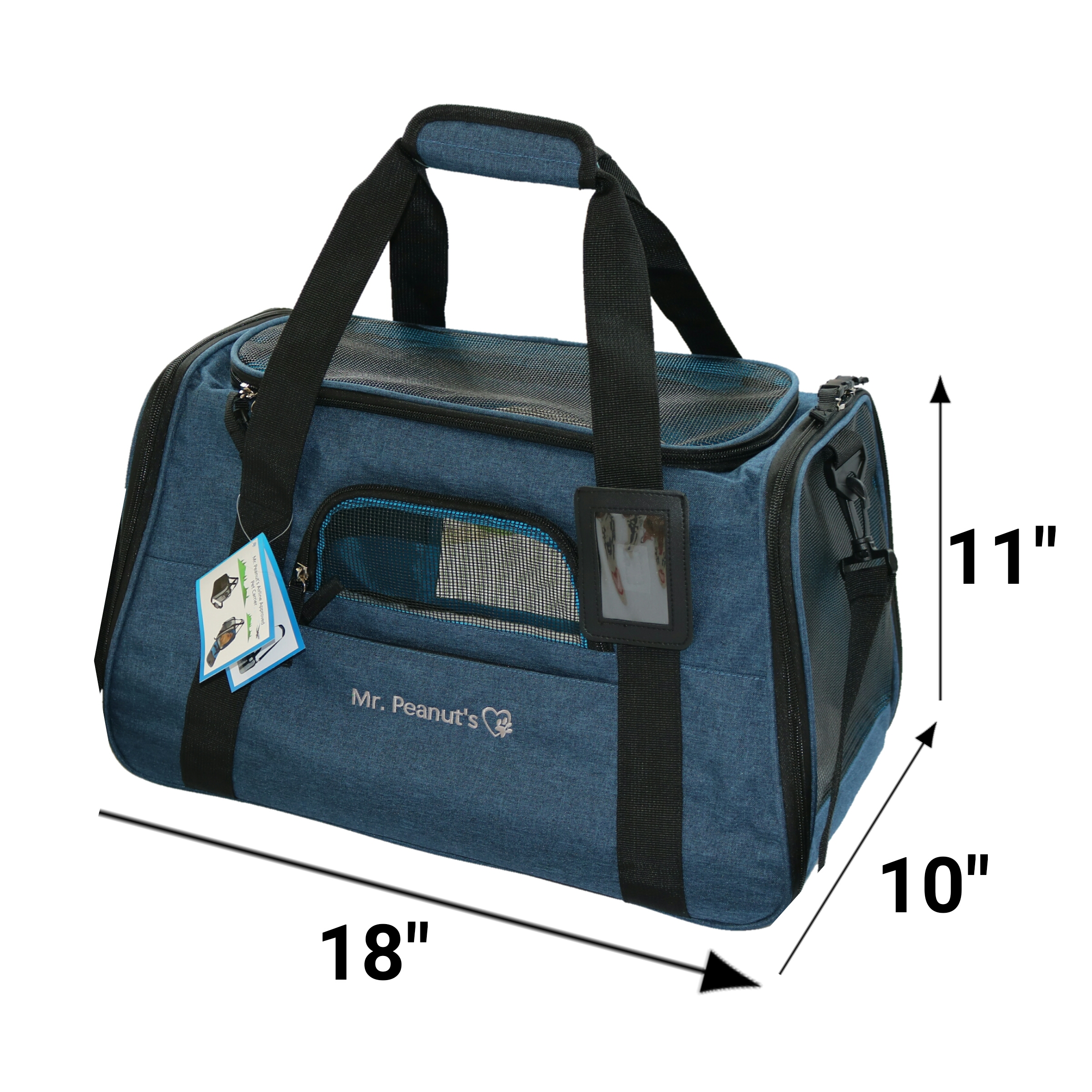 "Premium Airline Approved Soft Sided Pet Carrier by Mr. Peanut's, 18X10X11"" Travel Tote with Plush Fleece Bedding & Strong 1/4"" Padded Wood Base, Seatbelt Attachments, Perfect for Cats and Small Dogs"
