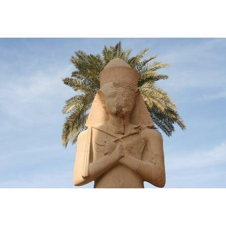 Peel-n-Stick Poster of Ruins Luxor Humor Palm Pharaoh Egypt Statue Poster 24x16 Adhesive Sticker Poster - Egyptian Pharo