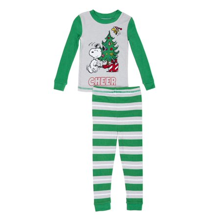 Snoopy Christmas Graphic Long Sleeve Top & Pants Pajamas, 2pc Set (Toddler Boys) (Christmas Pajamas Toddlers)