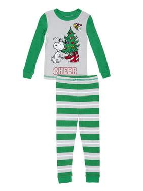 product image snoopy christmas graphic long sleeve top pants pajamas 2pc set toddler boys